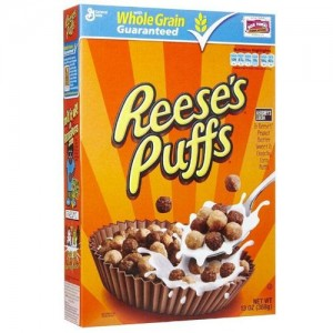 Reeses Puffs Cereal Box